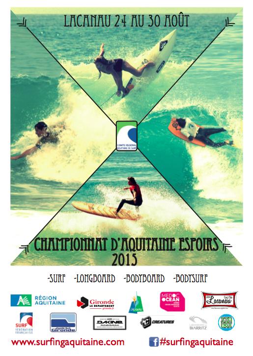 Affiche des Championnats d'Aquitaine Espoir 2015.