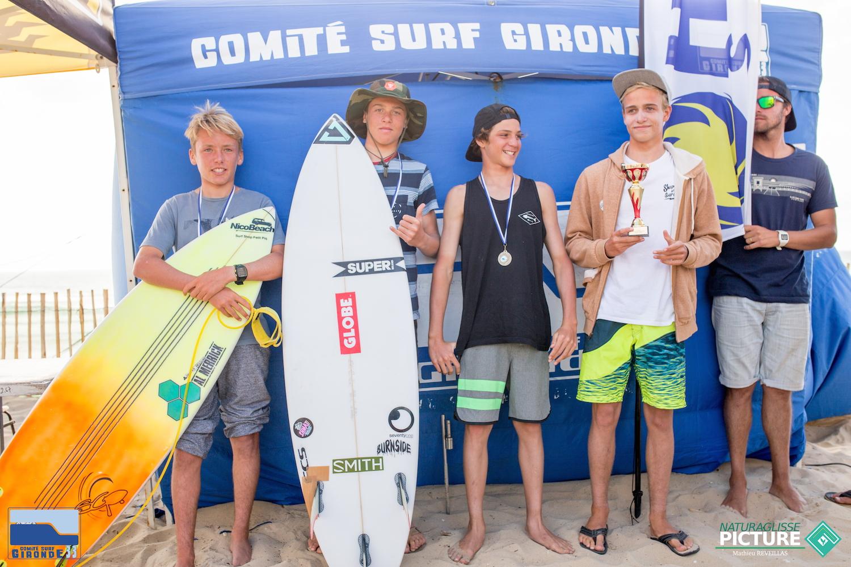 Podium Surf Cadet - Valentin - Téva - Taylor - Erwan